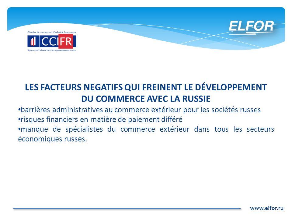 LES FACTEURS NEGATIFS QUI FREINENT LE DÉVELOPPEMENT DU COMMERCE AVEC LA RUSSIE