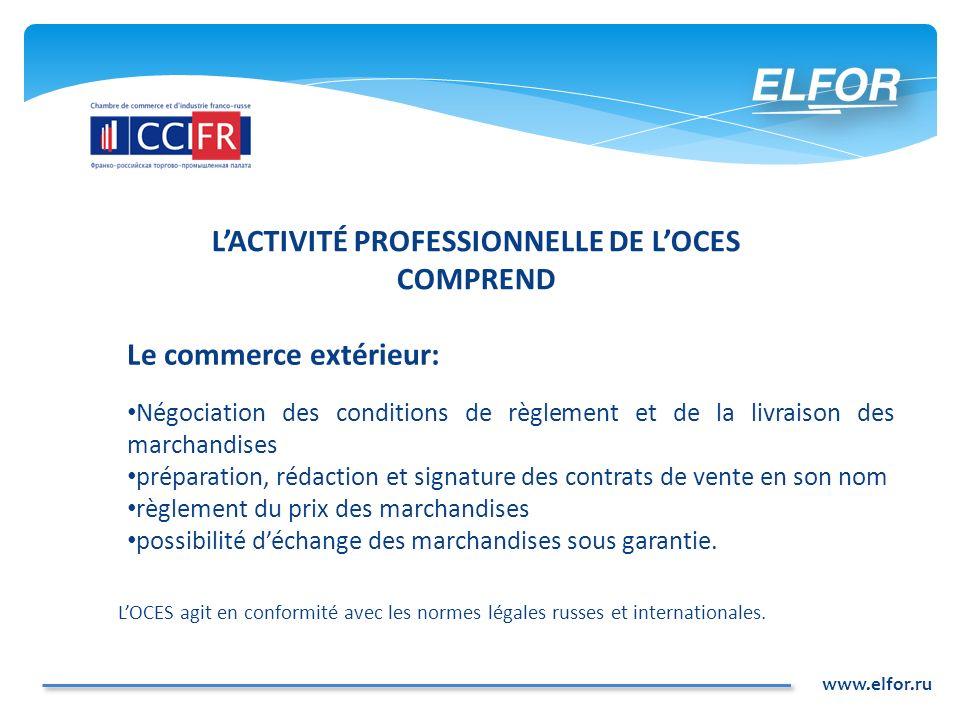 L'ACTIVITÉ PROFESSIONNELLE DE L'OCES