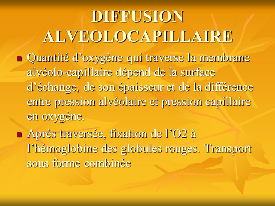 DIFFUSION ALVEOLOCAPILLAIRE