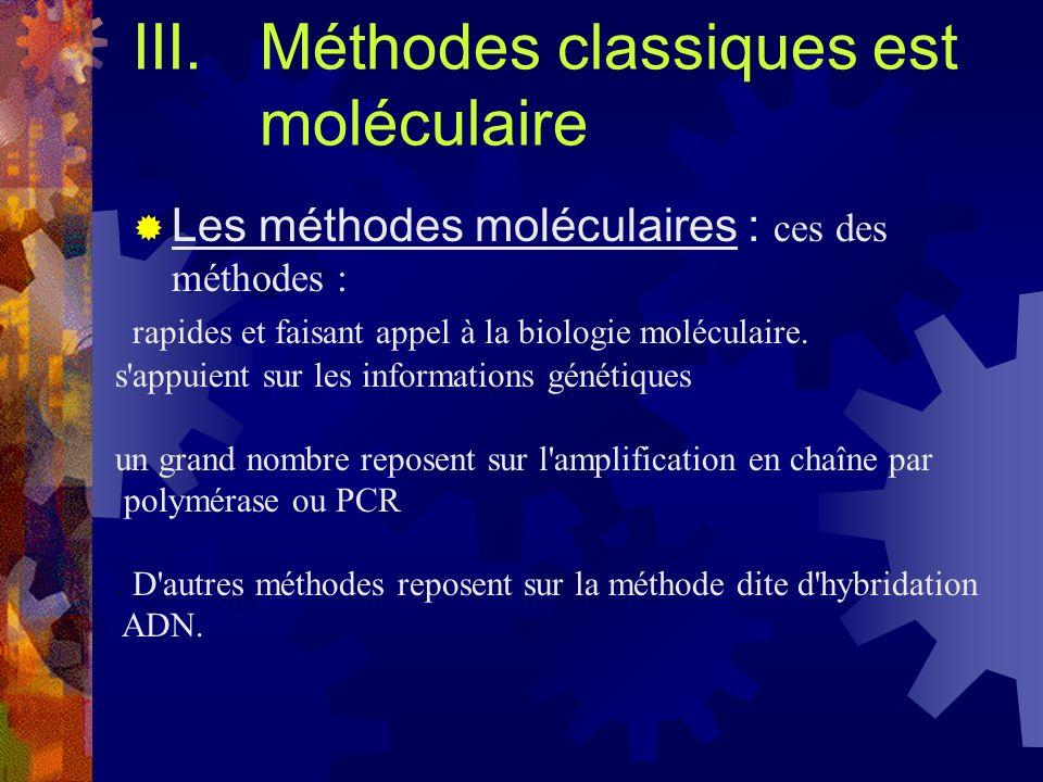 Méthodes classiques est moléculaire