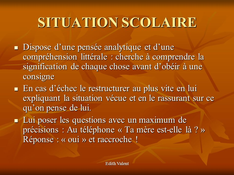 SITUATION SCOLAIRE