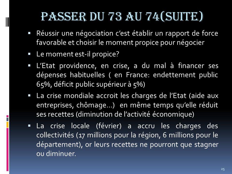 Passer du 73 au 74(suite) Réussir une négociation c'est établir un rapport de force favorable et choisir le moment propice pour négocier.