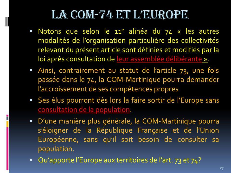 La COM-74 et l'Europe