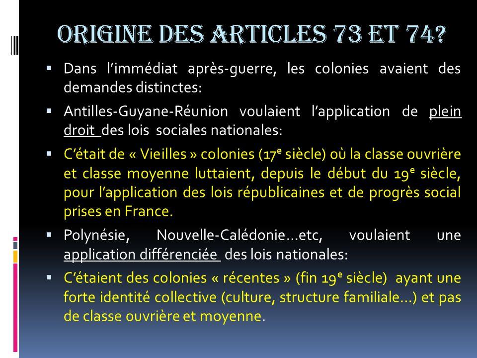 ORIGINE DES ARTICLES 73 et 74