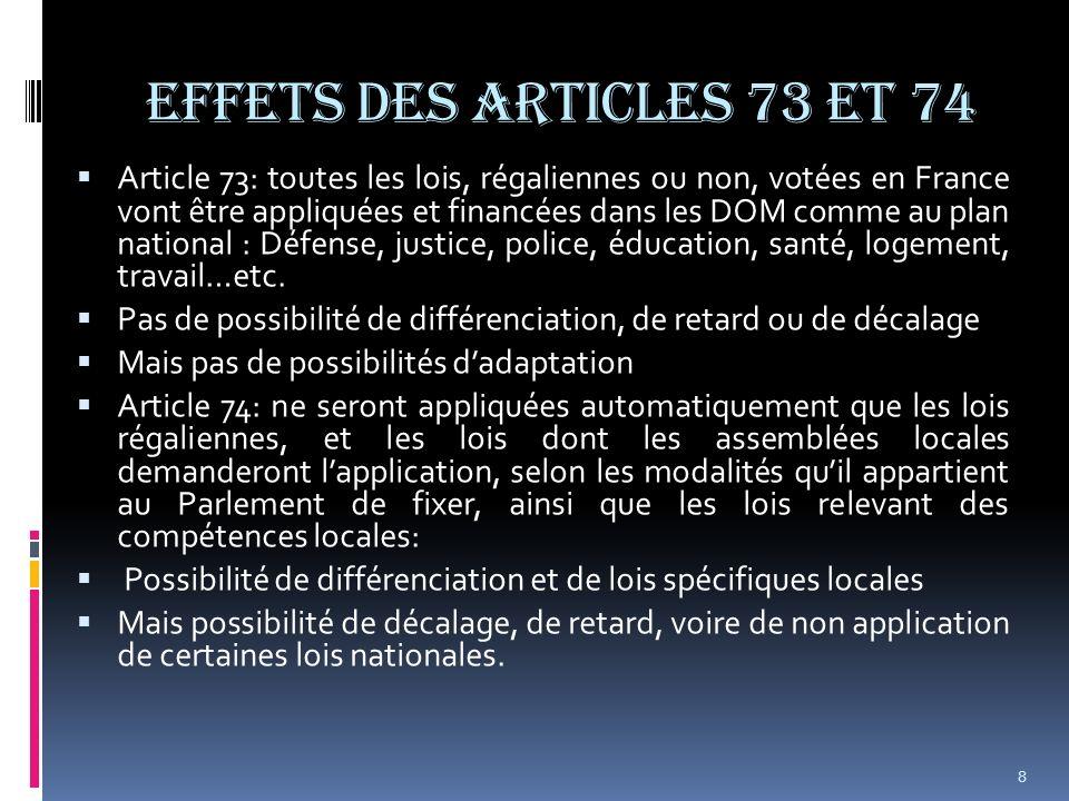 EFFETS DES ARTICLES 73 et 74