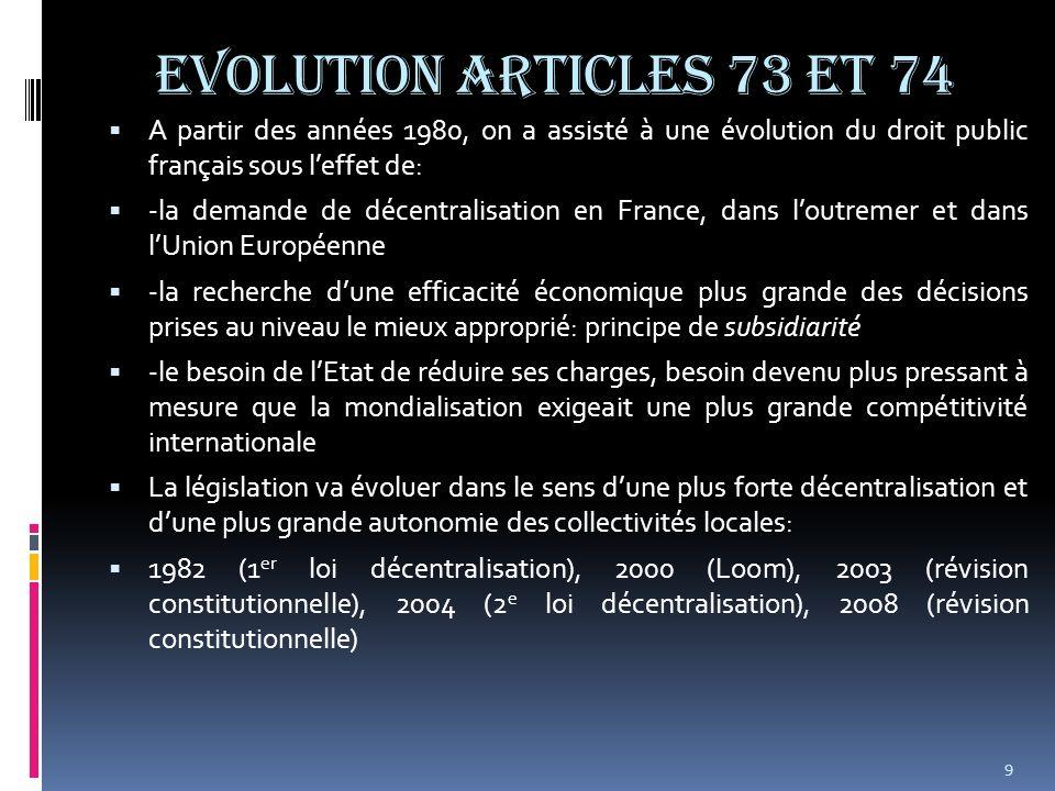 EVOLUTION ARTICLES 73 et 74 A partir des années 1980, on a assisté à une évolution du droit public français sous l'effet de: