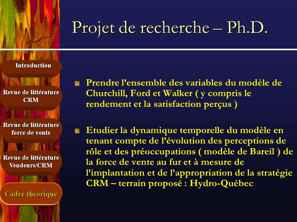 Projet de recherche – Ph.D.