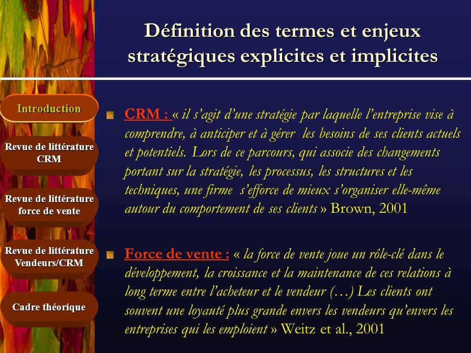Définition des termes et enjeux stratégiques explicites et implicites