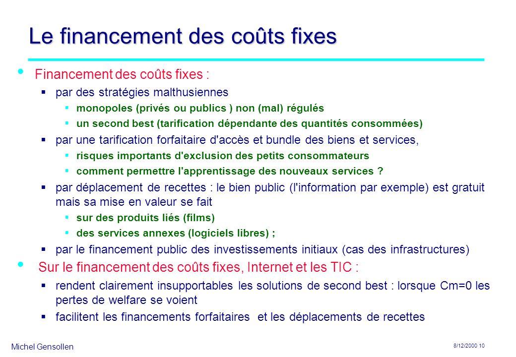 Le financement des coûts fixes