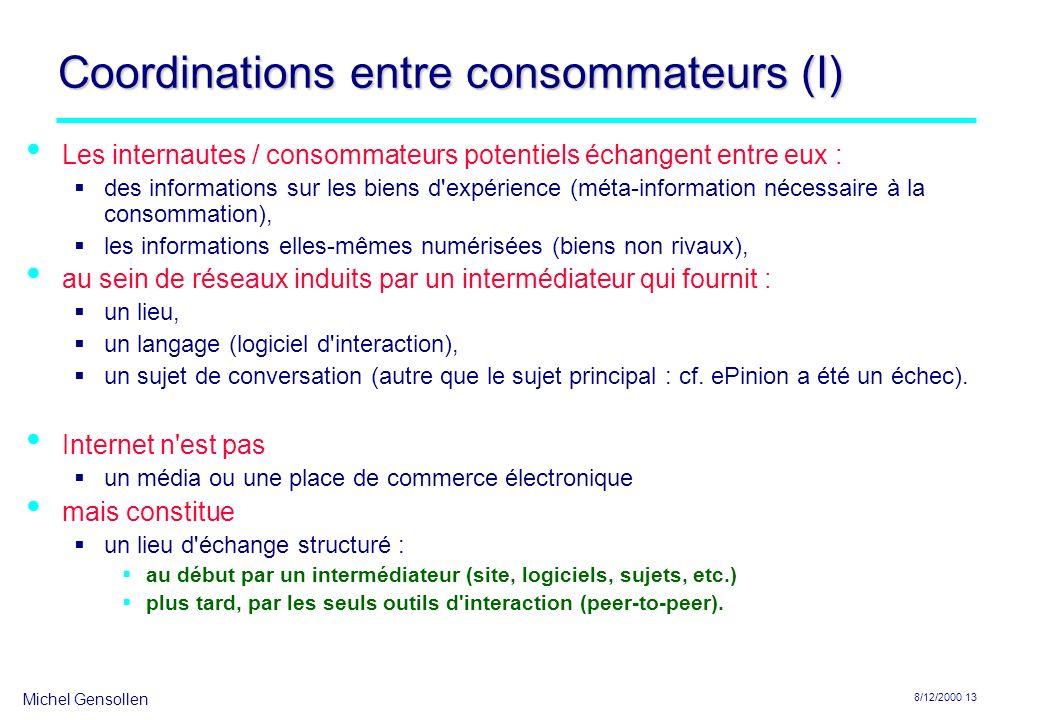 Coordinations entre consommateurs (I)