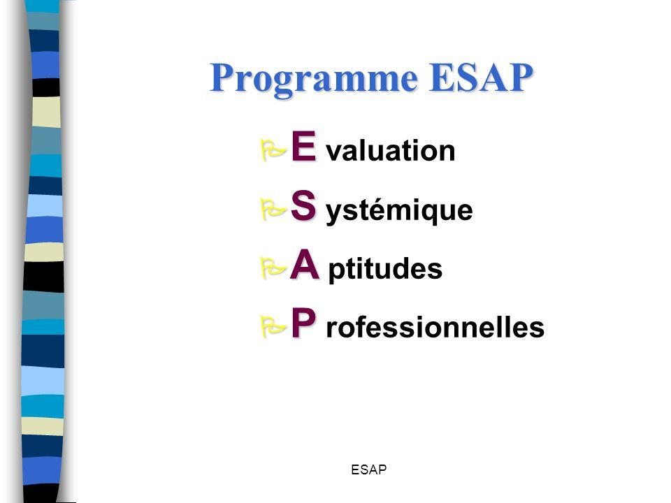 Programme ESAP E valuation S ystémique A ptitudes P rofessionnelles