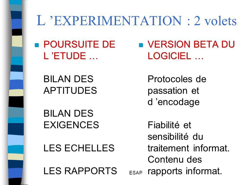 L 'EXPERIMENTATION : 2 volets