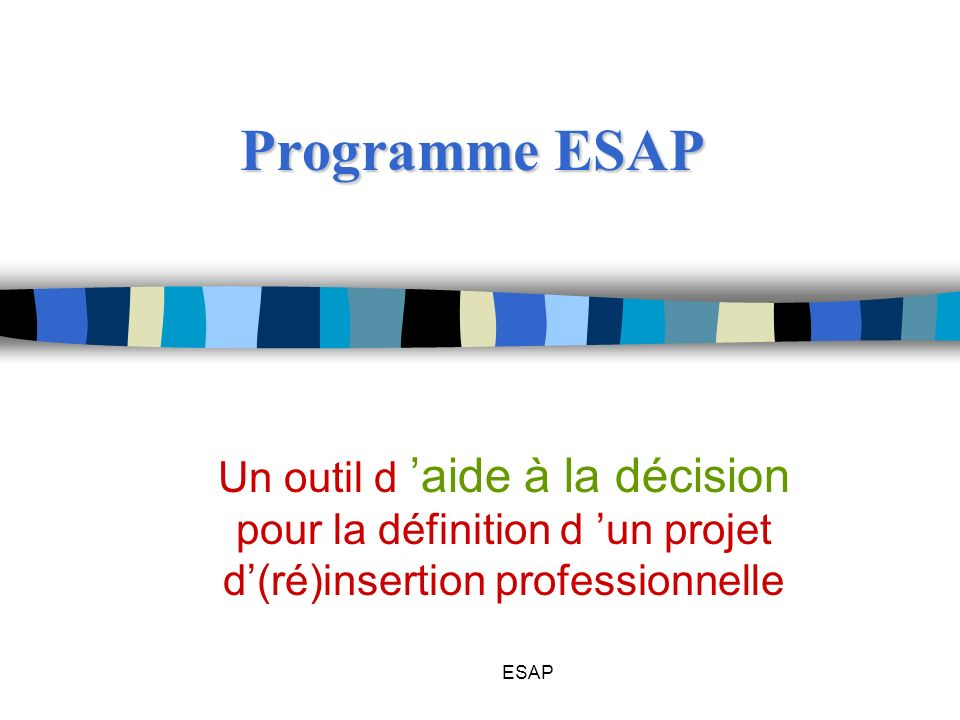 Programme ESAPUn outil d 'aide à la décision pour la définition d 'un projet d'(ré)insertion professionnelle.