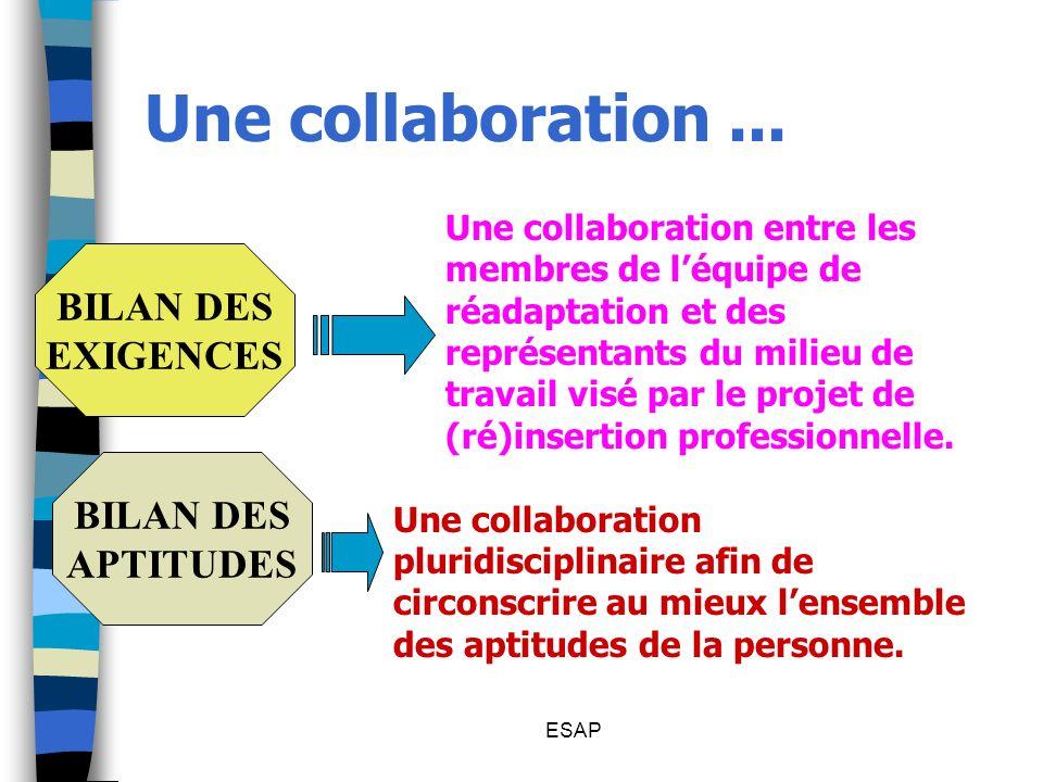 Une collaboration ... BILAN DES EXIGENCES BILAN DES APTITUDES