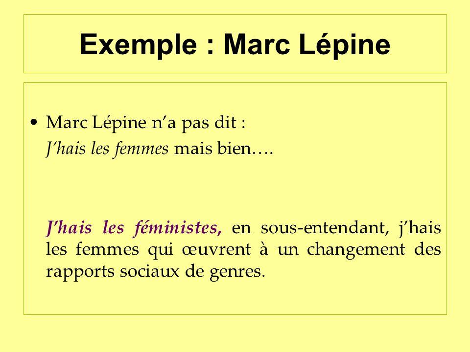 Exemple : Marc Lépine Marc Lépine n'a pas dit :