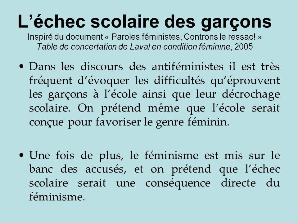 L'échec scolaire des garçons Inspiré du document « Paroles féministes, Controns le ressac! » Table de concertation de Laval en condition féminine, 2005