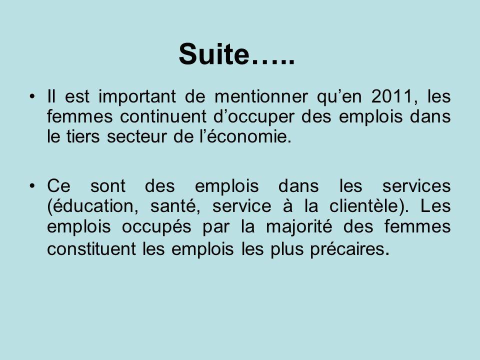 Suite….. Il est important de mentionner qu'en 2011, les femmes continuent d'occuper des emplois dans le tiers secteur de l'économie.