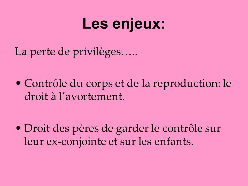 Les enjeux: La perte de privilèges…..