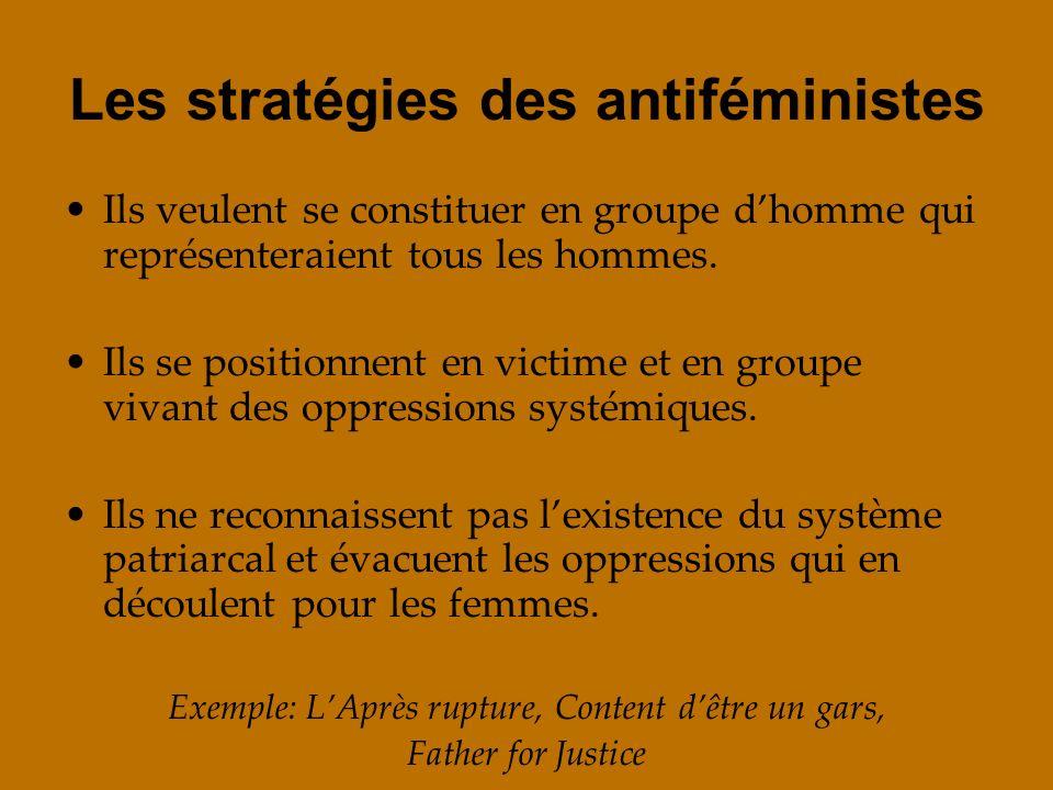 Les stratégies des antiféministes