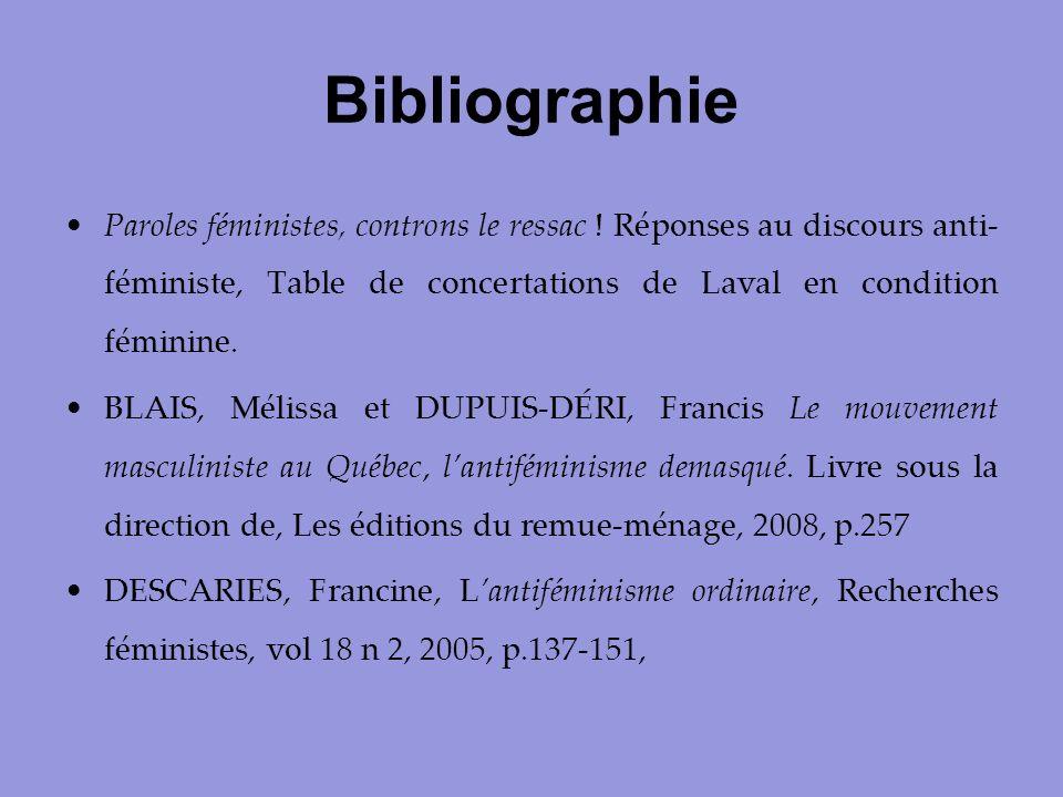 Bibliographie Paroles féministes, controns le ressac ! Réponses au discours anti-féministe, Table de concertations de Laval en condition féminine.