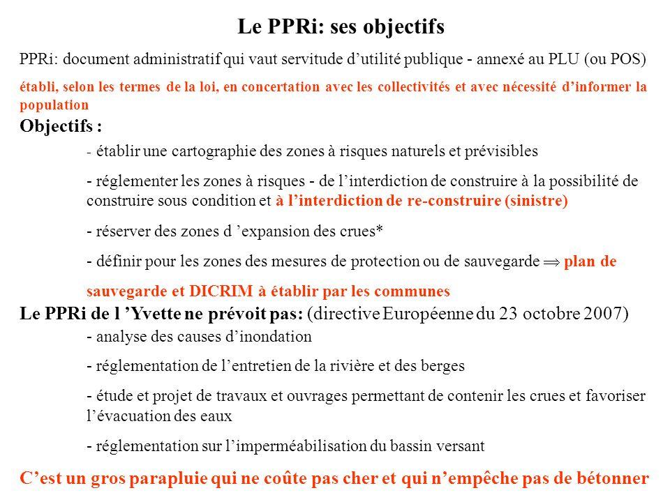 Le PPRi: ses objectifs Objectifs :