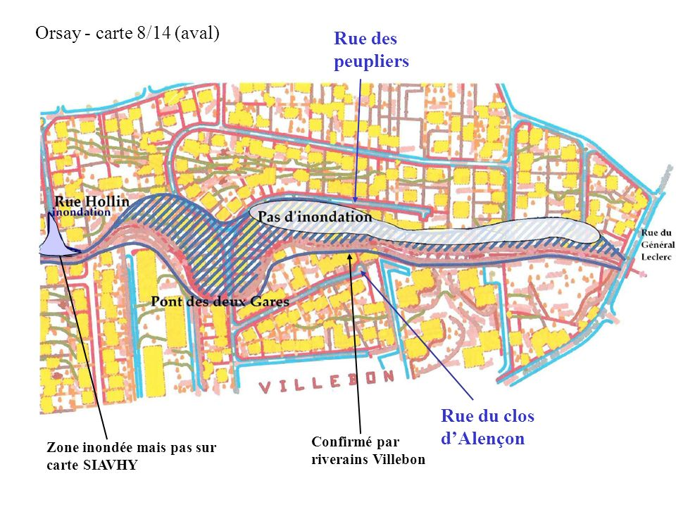 Orsay - carte 8/14 (aval) Rue des peupliers Rue du clos d'Alençon