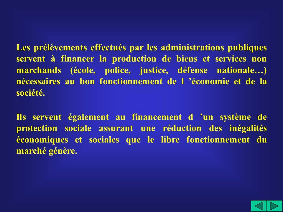 Les prélèvements effectués par les administrations publiques servent à financer la production de biens et services non marchands (école, police, justice, défense nationale…) nécessaires au bon fonctionnement de l 'économie et de la société.