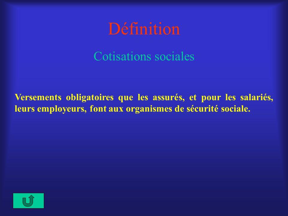Définition Cotisations sociales