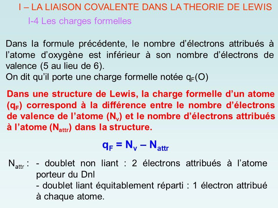 qF = Nv – Nattr I – LA LIAISON COVALENTE DANS LA THEORIE DE LEWIS