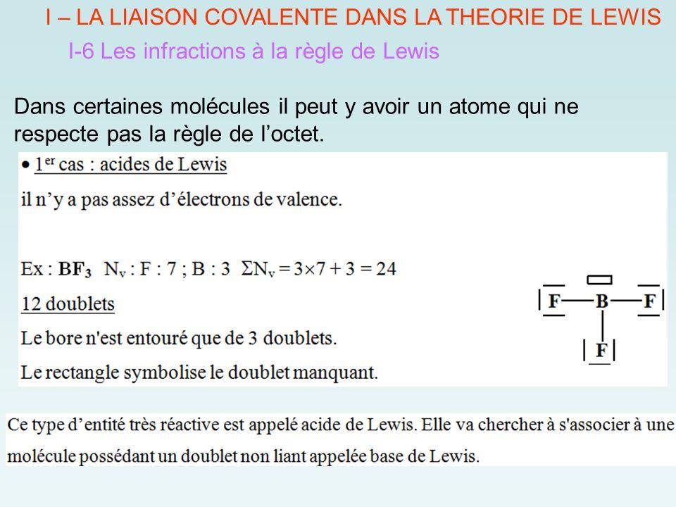 I – LA LIAISON COVALENTE DANS LA THEORIE DE LEWIS