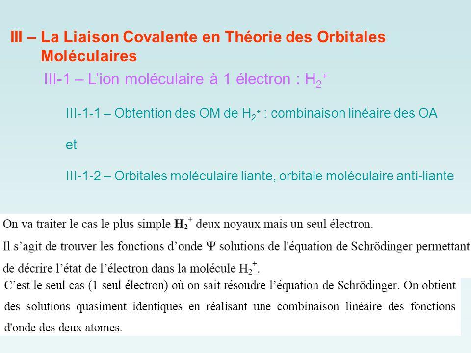 III – La Liaison Covalente en Théorie des Orbitales Moléculaires