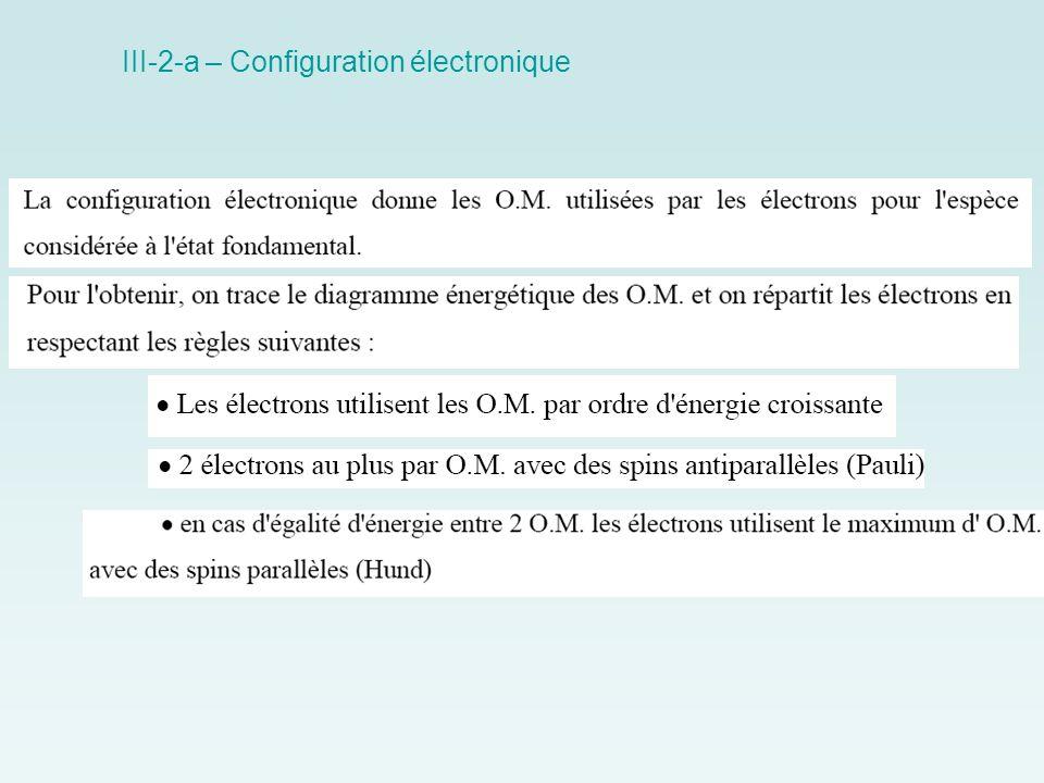 III-2-a – Configuration électronique