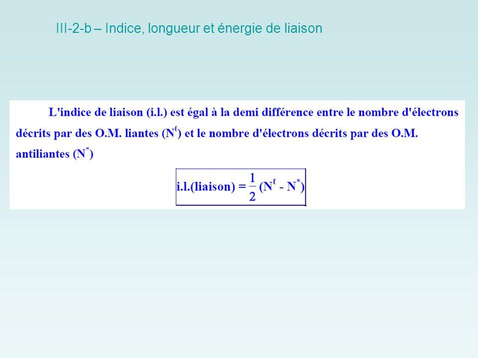 III-2-b – Indice, longueur et énergie de liaison