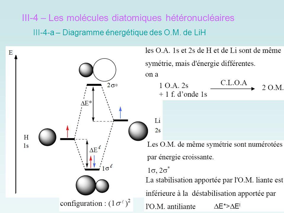III-4 – Les molécules diatomiques hétéronucléaires