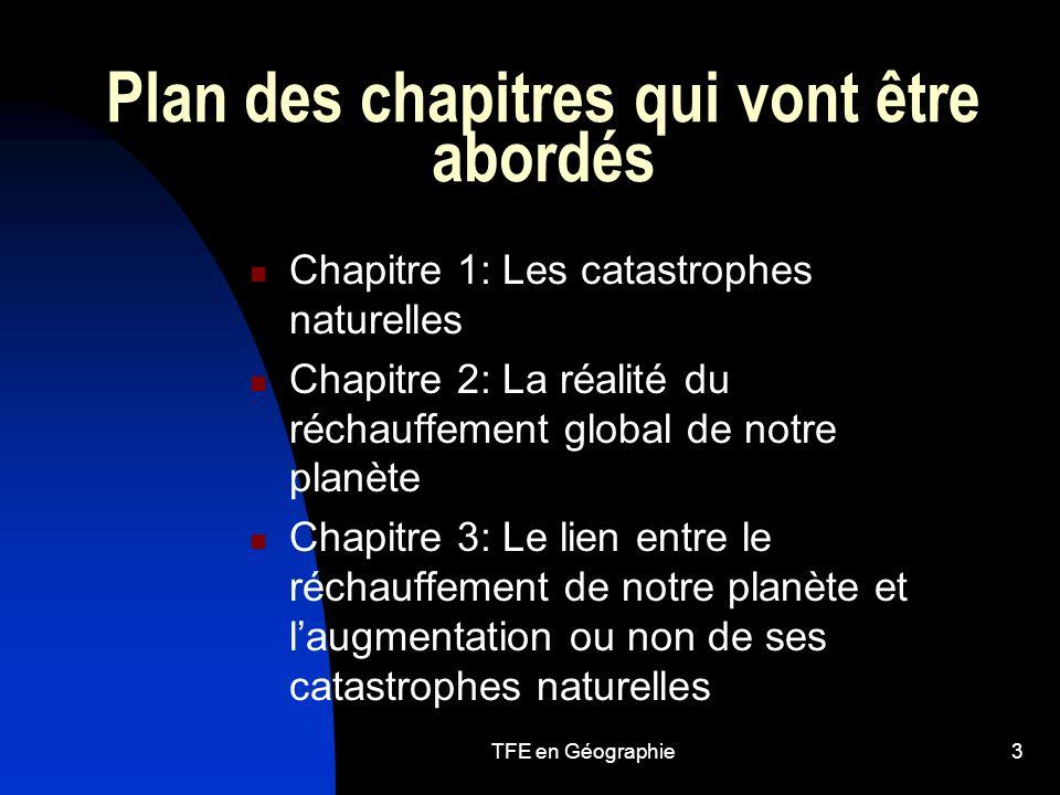 Plan des chapitres qui vont être abordés