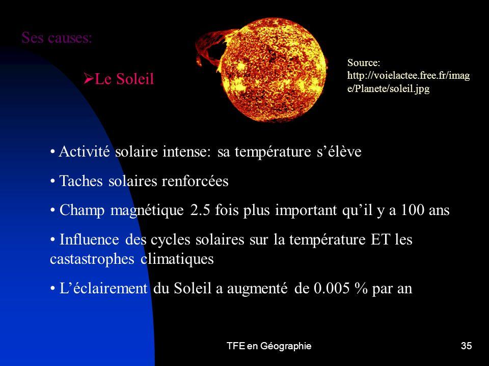Activité solaire intense: sa température s'élève