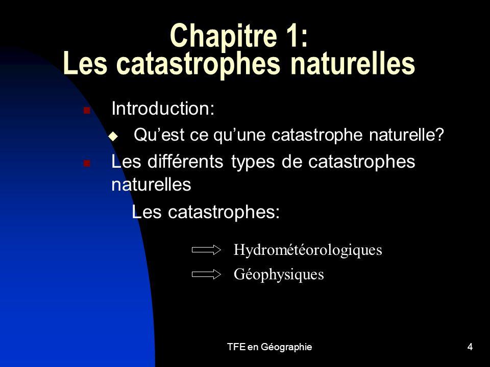Chapitre 1: Les catastrophes naturelles
