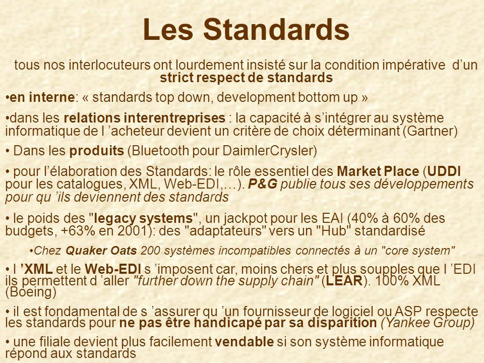 Les Standardstous nos interlocuteurs ont lourdement insisté sur la condition impérative d'un strict respect de standards.
