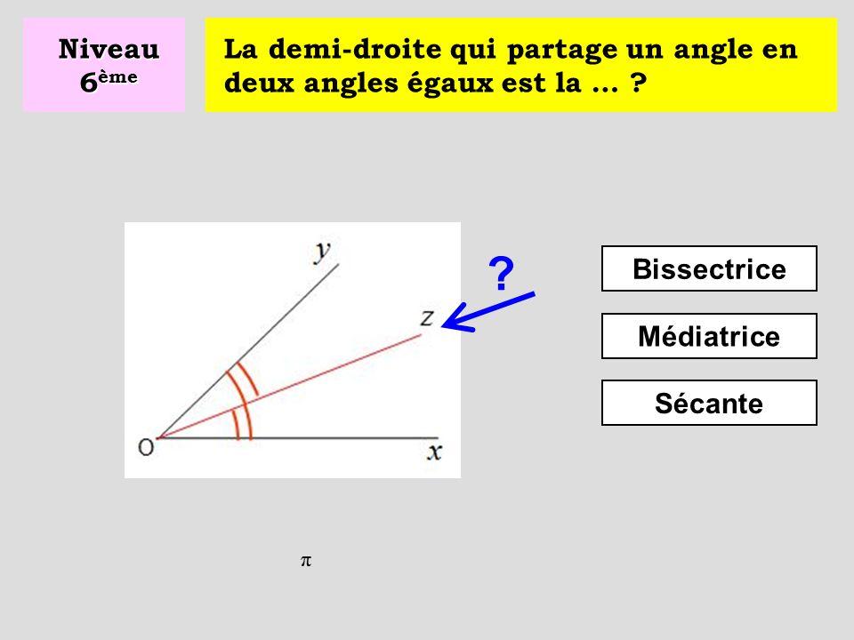 Niveau 6ème La demi-droite qui partage un angle en deux angles égaux est la … Bissectrice. Médiatrice.
