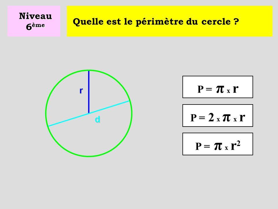 P = π x r P = 2 x π x r P = π x r2 Niveau 6ème