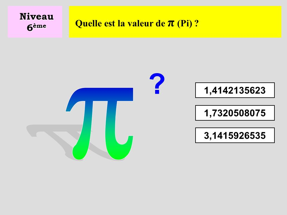 Niveau 6ème Quelle est la valeur de π (Pi) 1,4142135623