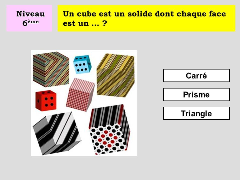 Niveau 6ème Un cube est un solide dont chaque face est un … Carré Prisme Triangle