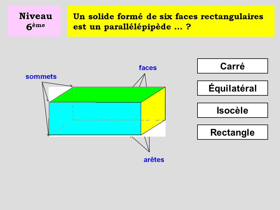 Niveau 6ème Carré Équilatéral Isocèle Rectangle