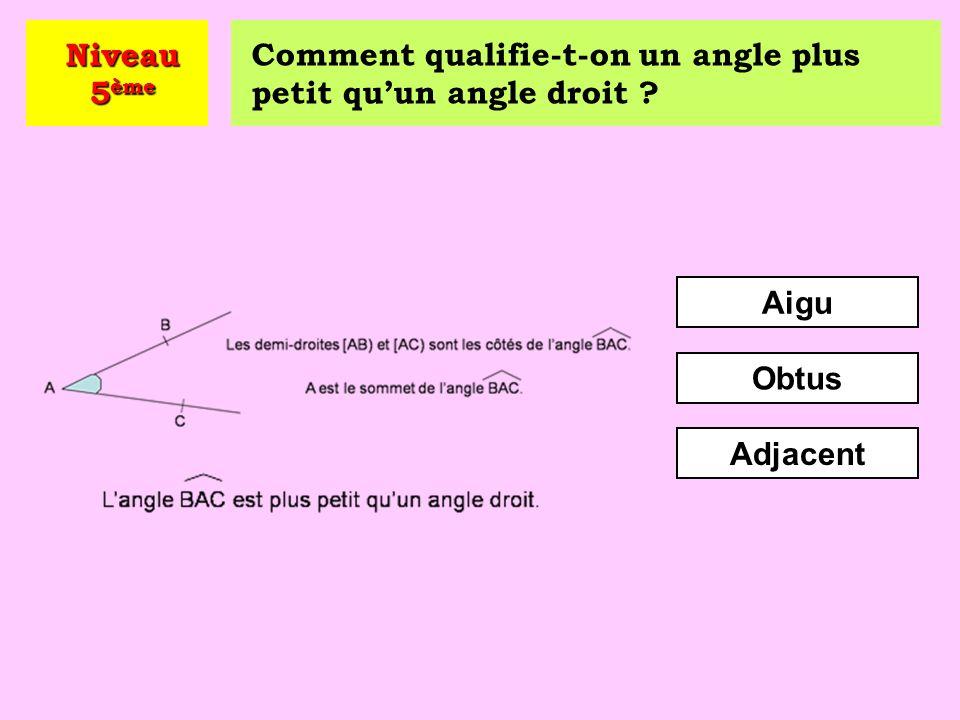 Niveau 5ème Comment qualifie-t-on un angle plus petit qu'un angle droit Aigu Obtus Adjacent