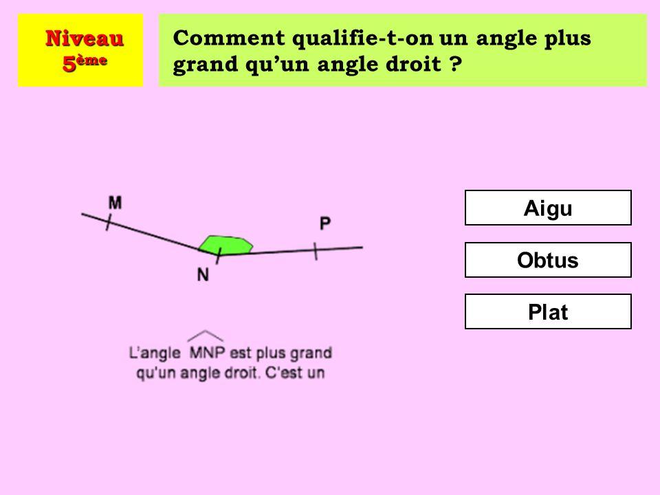 Niveau 5ème Comment qualifie-t-on un angle plus grand qu'un angle droit Aigu Obtus Plat