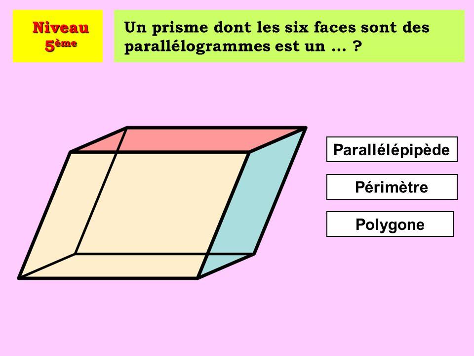 Niveau 5ème Un prisme dont les six faces sont des parallélogrammes est un … Parallélépipède. Périmètre.