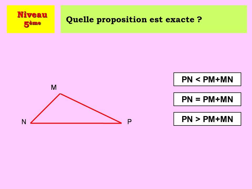 Niveau 5ème Quelle proposition est exacte PN < PM+MN PN = PM+MN PN > PM+MN
