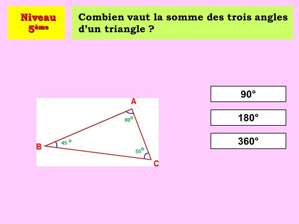 Niveau 5ème Combien vaut la somme des trois angles d'un triangle 90° 180° 360°
