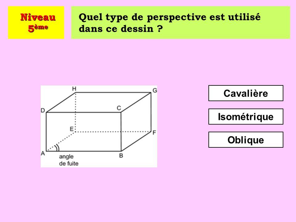Niveau 5ème Quel type de perspective est utilisé dans ce dessin Cavalière Isométrique Oblique
