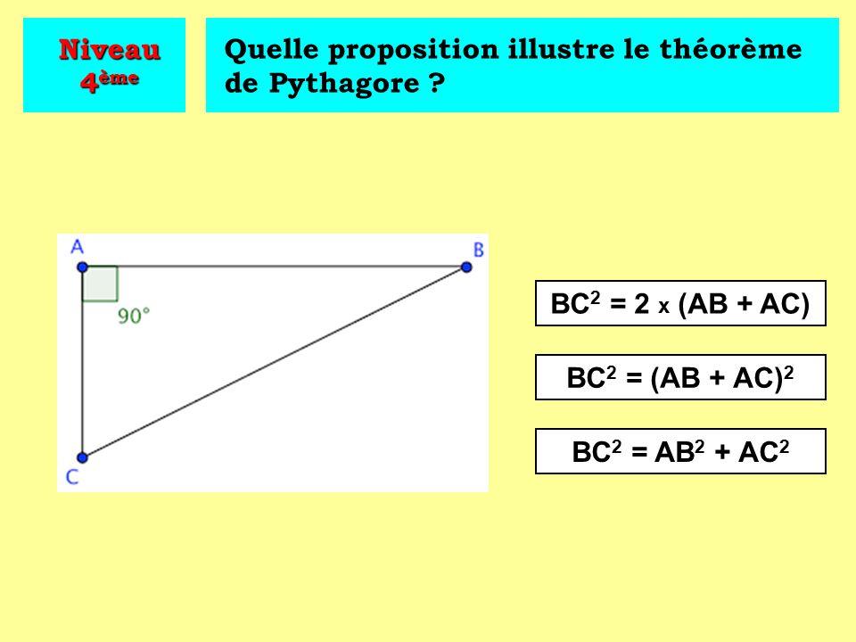 Niveau 4ème Quelle proposition illustre le théorème de Pythagore BC2 = 2 x (AB + AC) BC2 = (AB + AC)2.
